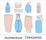 hand drawn body care  cosmetic  ... | Shutterstock .eps vector #739424950