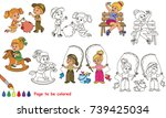 small playing infants set to be ... | Shutterstock .eps vector #739425034