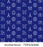 holidays and travel icons set.... | Shutterstock . vector #739426468