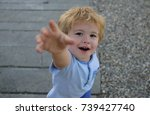 give me gesture  child asks to... | Shutterstock . vector #739427740