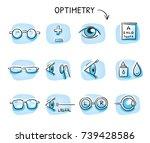 set of different optometry... | Shutterstock .eps vector #739428586