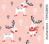 christmas seamless pattern with ... | Shutterstock .eps vector #739428850