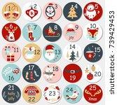 christmas advent calendar with... | Shutterstock .eps vector #739429453