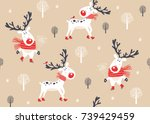 christmas seamless pattern with ... | Shutterstock .eps vector #739429459