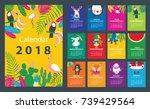 calendar 2018 starting from... | Shutterstock .eps vector #739429564