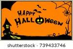 happy halloween text   Shutterstock .eps vector #739433746