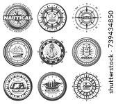 vintage monochrome round... | Shutterstock .eps vector #739434850