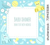 greeting baby shower card with... | Shutterstock .eps vector #739435084