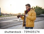 winter is coming man wearing... | Shutterstock . vector #739435174