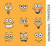 cartoon comic faces. various... | Shutterstock .eps vector #739435318