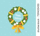 christmas holly wreath flat... | Shutterstock .eps vector #739435450