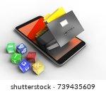 3d illustration of mobile phone ... | Shutterstock . vector #739435609