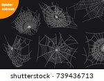 spider cobwebs various forms set | Shutterstock .eps vector #739436713