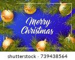 merry christmas lettering   Shutterstock .eps vector #739438564