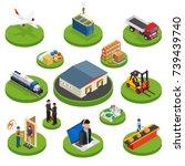 logistics isometric icons set... | Shutterstock .eps vector #739439740