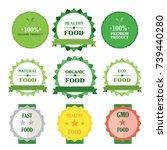eco green badges vector... | Shutterstock .eps vector #739440280