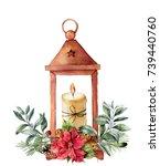 watercolor christmas lantern...   Shutterstock . vector #739440760