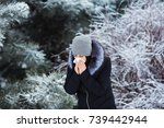 female sneezing. pretty young... | Shutterstock . vector #739442944