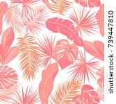 seamless pattern of tropical...   Shutterstock .eps vector #739447810
