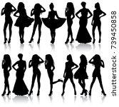 beautiful fashion girl... | Shutterstock .eps vector #739450858