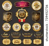 retro vintage golden badges... | Shutterstock .eps vector #739452736