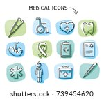 set of different medical icons... | Shutterstock .eps vector #739454620