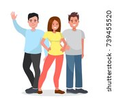 group of happy people on... | Shutterstock .eps vector #739455520