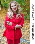 portrait of beautiful blonde... | Shutterstock . vector #739456240
