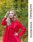 portrait of beautiful blonde... | Shutterstock . vector #739456294