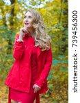 portrait of beautiful blonde... | Shutterstock . vector #739456300