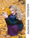 portrait of beautiful blonde... | Shutterstock . vector #739456354