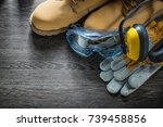 safety gloves boots goggles... | Shutterstock . vector #739458856