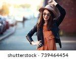 close up fashion woman portrait ... | Shutterstock . vector #739464454