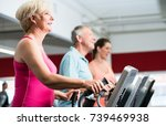 seniors training on cross... | Shutterstock . vector #739469938