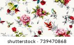 Stock vector bright wide vintage seamless background pattern rose peony with leaves and nightingales around 739470868