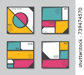 set of abstract backgrounds in... | Shutterstock .eps vector #739474570