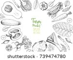 vegetables top view frame.... | Shutterstock .eps vector #739474780