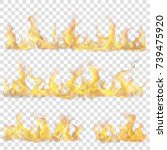 set of horizontal fire flame on ... | Shutterstock .eps vector #739475920