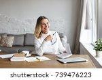 indoor portrait of cheerful... | Shutterstock . vector #739476223