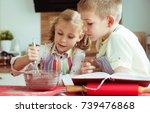 two happy children baking... | Shutterstock . vector #739476868