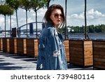 beautiful sexy woman  skin is... | Shutterstock . vector #739480114