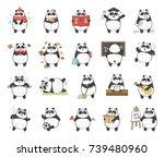 set of cute panda character... | Shutterstock . vector #739480960