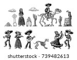 the skeleton in mexican... | Shutterstock .eps vector #739482613