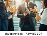 group of business people giving ... | Shutterstock . vector #739483129