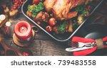 thanksgiving dinner. roasted... | Shutterstock . vector #739483558