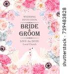 vintage wedding invitation | Shutterstock .eps vector #739483828