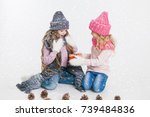 christmas. new year. two little ... | Shutterstock . vector #739484836