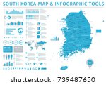 south korea map   detailed info ... | Shutterstock .eps vector #739487650