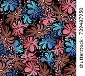 floral colorful seamless... | Shutterstock .eps vector #739487950