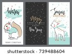 merry christmas greeting card... | Shutterstock .eps vector #739488604